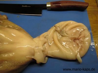 Oktopus/Pulpo küchenfertig vorberetiten - umgestülpter Mantel zum Entfernen der zapfenartigen Fortsätze im Mantel
