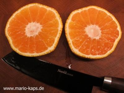 Tangelo alias UGLI - halbierte UGLI als Vorbereitung zum Auslöffeln wie eine Grapefruit