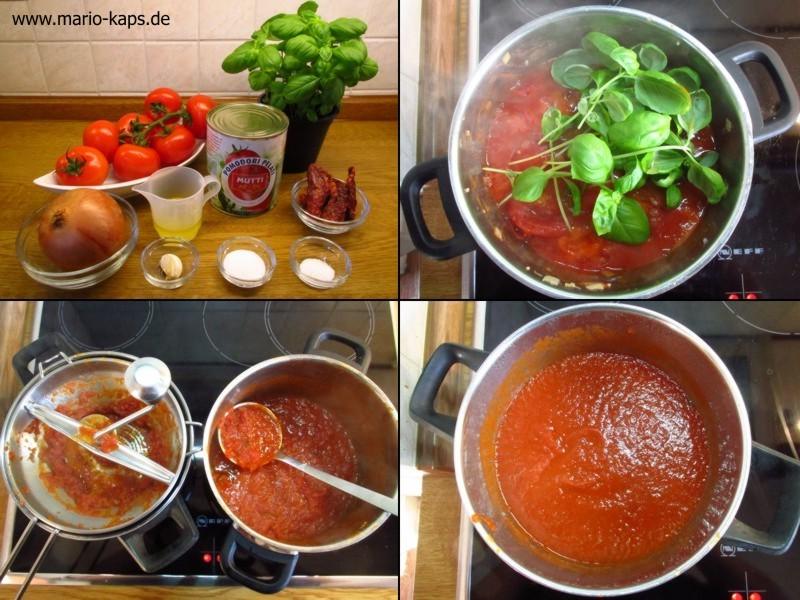 Eine Collage zu Zutaten und Zubereitung einer Sauce Napoli