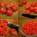 Strauchtomaten, überbrühte und gehäutete Tomaten, Tomatenfilets und feine Tomatenwürfel (Tomaten-Concassée)