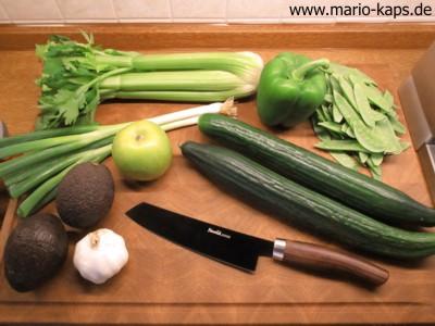Zutaten für die grüne Gazpacho (Green Gazpacho)