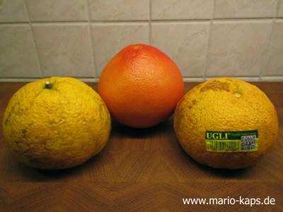 Tangelo alias UGLI - UGLI und Grapefruit im direkten optischen Vergleich