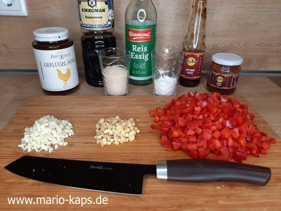 Sweet Chili Sauce - geschnittene Zutaten